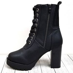 Shoes - New Black Lace Up Combat Heel Ankle Boots Booties